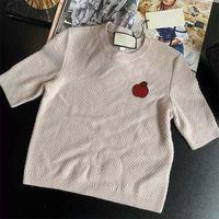 여성 여름 짧은 소매 스웨터 여자 O 넥 니트 패션 인사 스타일 유행 기하학적 인상 레이디 티셔츠 고품질 스웨터 셔츠 인기