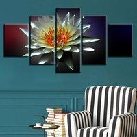 Pinturas de lona modular Arte de la pared 5 piezas Agua Lily Pictures HD Impreso Lotus Flores Poster Decoración para el hogar Sala de estar (sin marco)