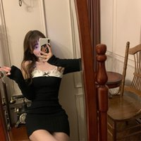 Casual Dresses Lace Patchwork Spaghetti Strap Long Sleeve Bodycon Dress Evening Party Sexy Slim Black Off Shoulder Mini-dresses Women Clothi