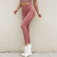 Женские брюки йоги Чистая красная бесшовная герметичность спортивные брюки стремятся персик ходьба высокая талия твердые цвета тренировки леггинсы идеально подходят для тренировки