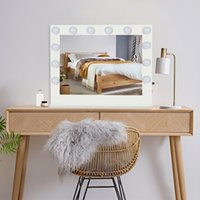 Hollywood desktop LED mirror cosmetic with frame 14 light bulbs net red girls dormitory desk white square base
