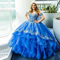 Blue Pageant Princess Quinceanera Dresses Sweetheart Off The Shoulder Tiered Ruffles Lace Appliques Party Sweet 15 Ball Gown