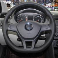 Hand-stitched Black Artificial leather Steering Wheel Cover for Volkswagen VW Golf 7 Mk7 New Polo 2014 2015