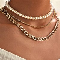 Punk Fashion 3 Layers Pearls Geometric Necklaces For Women Gold Metal Clavicle Chain Necklace Design Girl Jewelry Gift Chains