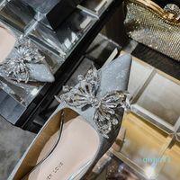Hot-dress-vestido sapatos Banquete formal 2021 Cristal de casamento Nupcial apontou lantejoula de salto alto fino da dama de honra
