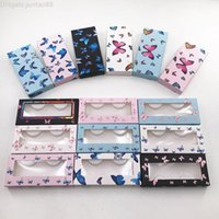 New Arrival Eyelash Package Empty Blue Butterfly Lash Box Mink Eyelashes Black Soft Paper Case for Fluffy Lashes