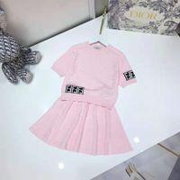 Tulle Flower Girl Vestido Color Pink Color Baby Girls Niño Ropa Sets 100-150 cm Suéter + Falda Material de algodón Material Ropa para niños