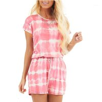 Women's Jumpsuits Rompers Summer Playsuit Short Sleeve Tie-Dye Printed Loose Pockets Neck Lace Up
