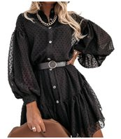 Casual Dresses 2021 Autumn And Winter Style Black Puff Sleeve Polka Dot Party Elegant Long-Sleeved Ruffled Mini Dress Shirt