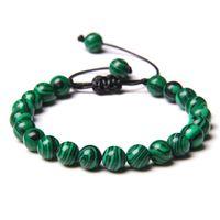 Verde Natural Pedra Beads Trançado Pulseira Malachite Jades Indian Agriões Ágatas Tecido Braceletes Masculinos Jóias Presentes