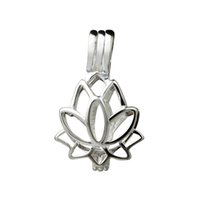 Lotus Flower Blossom Pendant Piccoli medaglioni 925 Sterling Silver Gift Love Wishing Pearl Cage 5 pezzi