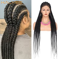 """Kalyss 31"""" Braided Rough Cornrow Box Braids Wig With Baby Hair For Black Women SynthetIc 360 Lace Front Wigs"""