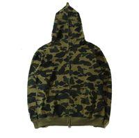 Famosa designer masculina moda camisola moletom jaqueta camuflagem cabeça de tubarão outono e inverno puro estação de algodão multicolor