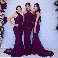 Sexy African Grape Bridesmaid Dresses 2021 Mermaid Halter Lace Appliques Beaded Sweep Train Maid Of Honor Wears Wedding Guest Gowns