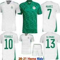 2021 2 Yıldız Cezayir Ev Beyaz Uzaktan Yeşil Futbol Forması Yetişkin Çocuk Seti Mahrez Feghouli Futbol Atletizm Üniformaları Gömlek