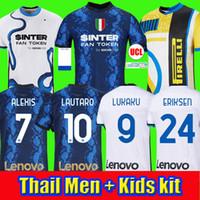 camisa de futebol 2021 Inter de Milão VIDAL ERIKSEN LUKAKU LAUTARO ALEXIS SKRINIAR BARELLA camisas de futebol 20 21 uniformes masculino + kit infantil