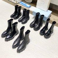 مصممون مونوليث تشيلسي الأحذية ريال النساء البراءات منصة الجلود الكاحل التمهيد الأسود سحب على الجوارب القتالية مكتنزة مربع الأصلي