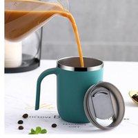 Doppelwand Edelstahl Tassen mit Griffe vakuumisoliert Kaffeetassen Seitenlack Kreative Tumbler Einfache Home Water Becher 400ml HHC7030