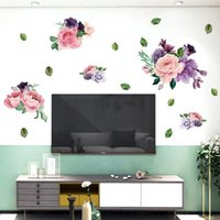 Wall Stickers Morden Living Room Decoration Beauty Flowers Self Adhesive Film Window Refrigerator For Home Decor