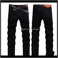 Clothing Apparel Drop Delivery 2021 Jeans Thin Washed Waist Black Straight Slim Mens Trousers Solid Color Tight Pencil Pants Casual Jb4Gi