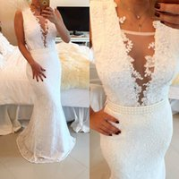 White Color Prom Dresses Mermaid Lace Sweep Train Long Special Occasion Evening Party Gowns