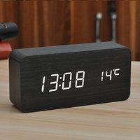 مقالات تأثيث سطح المكتب ساعة الصمام الخشب الإبداعي الصامت مضيئة السرير غرفة نوم الإلكترونية التنبيه