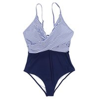 One-Piece Suits Y1UC Womens Sexy Swimsuit Cross Front V-Neck Bikini Striped Bathing Suit