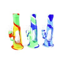 Silicone Water Hookah Thick Glass Filter Shisha Bong Dry Herbal Flowers Tobacco Percolator Smoking Accessories Complete Oil Rigs Set 7.87 inch