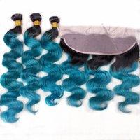 Ombre Color 1B Blue 13x4 Koronki Frontal z włosami 3 Bundles Dark Root Body Wave 1B Blue 3 Wiązki z koronki Frontal Ldmfl