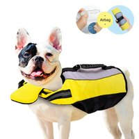 Dog Collars & Leashes Pet Life Jacket Air Bag Inflatable Folding Swimsuit With D Ring For Leash Breathable Reflective Yellow Supplies