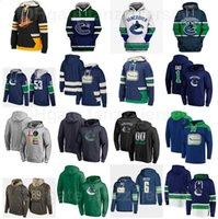 밴쿠버 Canucks Pullover Hockey 40 Elias Pettersson Hoody Jackets 53 Bo Horvat Hoodies 43 Quinn Hughes 후드 36 Nils Hoglander Sweatshirts Blue