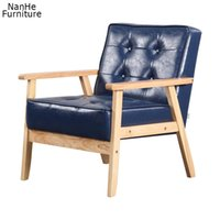 Accent chair with wood armrest and button in fabric living room furniture