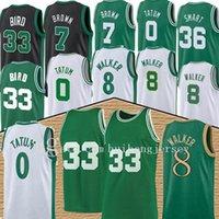JAYSON 0 Tatum Basketball Jersey Kemba 8 Walker Hommes Hommes Larry 33 Bird Jeunes enfants Jaylen 7 Marron maille rétro Marcus 36 Smart 20 Jersey Hayward