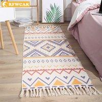 European And American Ethnic Style Cotton Linen Mats Handmade Decoration Girls Bedroom Bedside Tatami Carpet Tapi Salon Tappeto