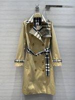Capacas de la zanja para mujer 2021 otoño manga larga cuello cuello chaquetas de cuello diseñador marca el mismo estilo ropa exterior 0714-21