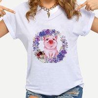 Женская футболка Свинья серии Creative Wonen Современная уличная одежда венок из фиолетовых цветов напечатанная одежда изысканный дизайн