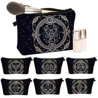 Newest Style Mysterious Black Zodiac Exclusive Custom Toiletry Bag for Travelling Makeup Brush Wash Pouch