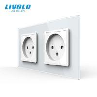 Presa in doppio Israele Standard LIVOLO UE, Pannello in vetro, AC 100 ~ 250 V 16A Presa a muro, C7C2IL-11 / 12/13/15 (4Colors), No
