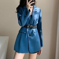 Women's Suits & Blazers 2021 Autumn Casual Style Fried Street Temperament Small Suit Blue British Jacket Female For Women