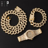 Hip Hop 20mm 3 unids kit reloj + collar + pulsera bling aaa + iced out aley rhinestones prong cubano enlace cadenas para hombres joyería