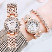 Designer Luxury Brand Watches Xury Women Rose Gold Fashion Ladies Quartz Diamond Wrist Elegant Kvinna Armband Es 2pcs Set Reloj Mujer