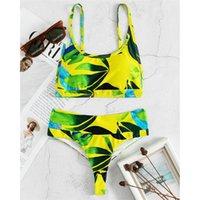 Women's Swimwear Sexy Green Leaves Printed Female Swimsuit High Waist Bikini Women Two-pieces Set Bather Bathing Suit Swim K3118