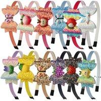 파티 용품 그라디언트 컬러 스팽글 나비 어린이 무지개 활 머리띠 머리 액세서리 EWF8065