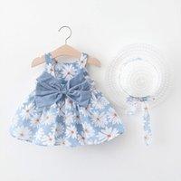Childern Girl Ropa Niños Niños Niños Bebé Summer Arco Imprimir Suspensión Princesa Vestido de fiesta con ropa de sombrero