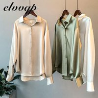 Alta qualidade elegante imitação de seda blusa primavera mulheres moda mangas compridas cetim vintage femme stand street shirts