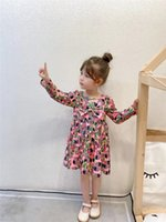 Luxury Children Flowers Letter Printed Dress Designer Kids Bow Long Sleeve Pleated Dresses 2021 Fall Girls princess Clothing A7243