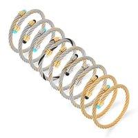 Bangle Color Luxury Stainless Steel Braided Open Men Women Charm Cuff Bracelets Set Trendy Chain Link Sporty Wrap Bangles