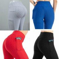 Yogasports Pantalones de burbujas de yoga alta de la cintura para mujer Pantalones de la burbuja de los bolsillos con los bolsillos Control de la barriga Adelgazante Textured Booty Funcionamiento de entrenamiento U3GL #