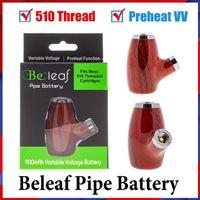 100 % 원래 BEALEAF 파이프 배터리 키트 나무 디자인 vape 펜 담배 510 나사 900mAh 충전식 예열 가변 전압