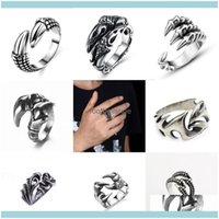 Retro Gothic Snake Animal Band Rings Vintage Men Women Fashion Stainless Steel Punk Open Adjustable Claw Ring Cluster Jewelry Drop Delivery